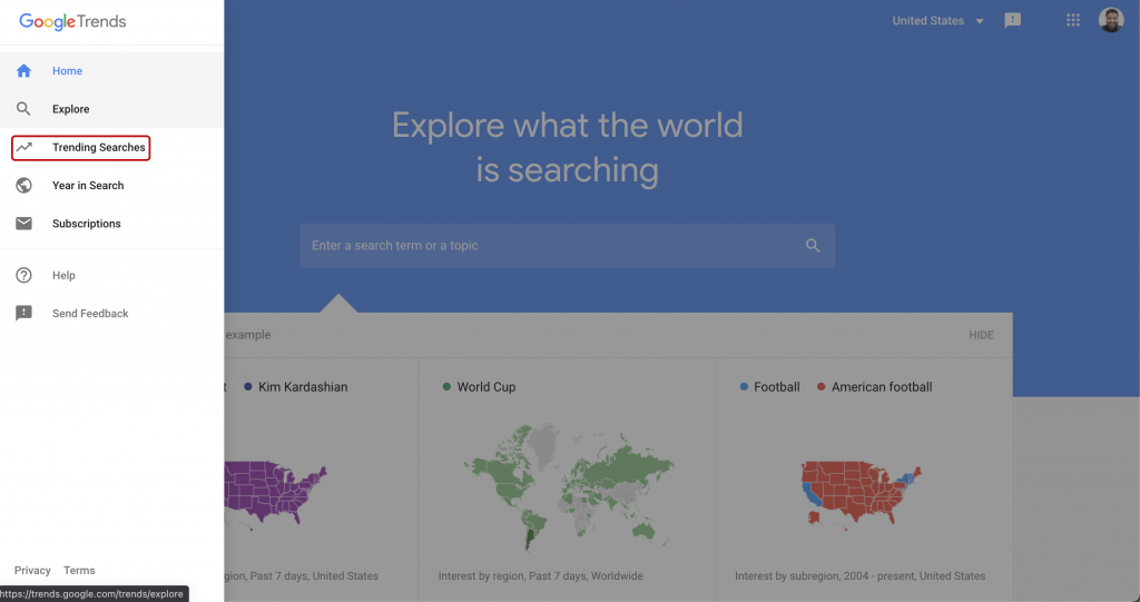 Trending searchs in Google Trends: Free tools from google