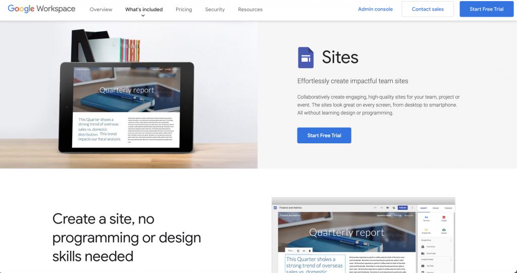 Google Sites: Free website hosts