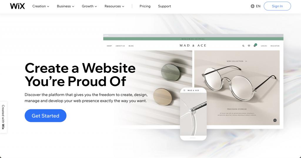 Wix: Free website hosts
